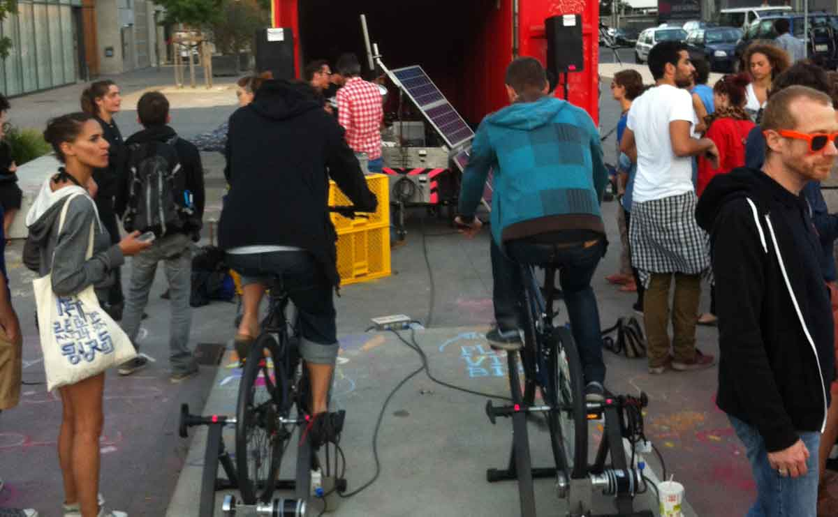 A mobile soundsystem powered by cycling and the sun