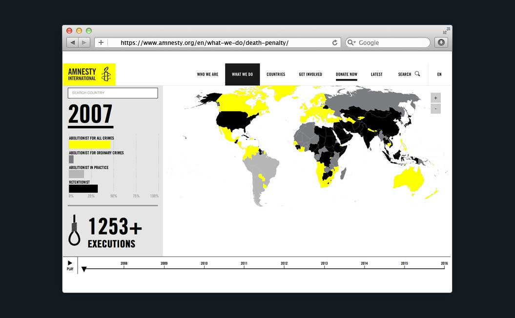 Image showing the Amnesty Death Penalty Maps on a desktop