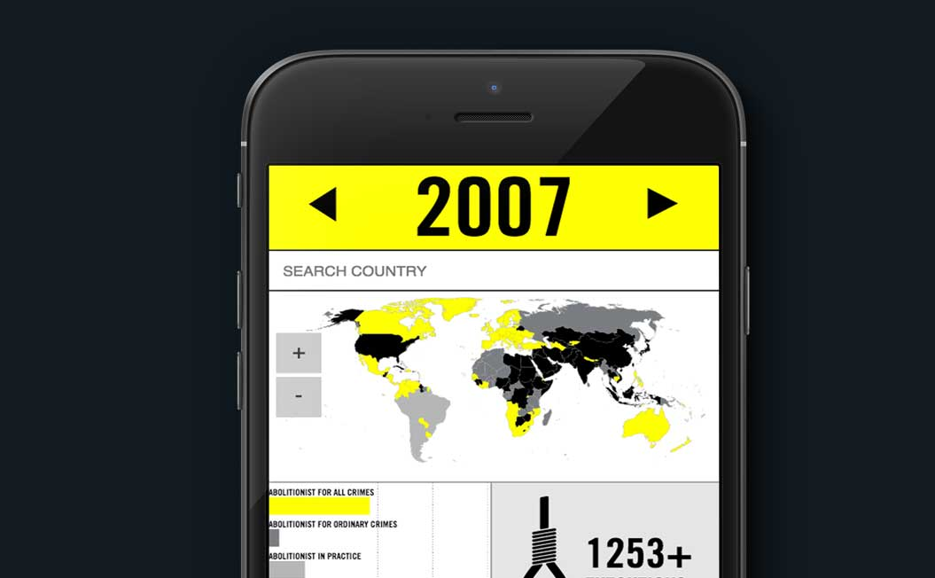 Image showing the Amnesty Death Penalty Maps on an iPhone