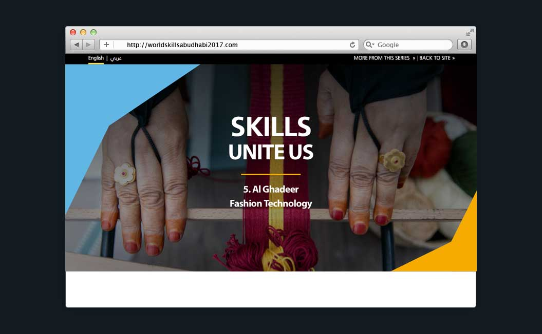 Image showing the WorldSkills Abu Dhabi 2017 feature story on a desktop